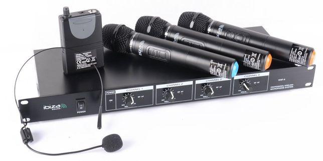 Zestaw mikrofonów bezprzewodowych 4-kanałowy Ibiza VHF4