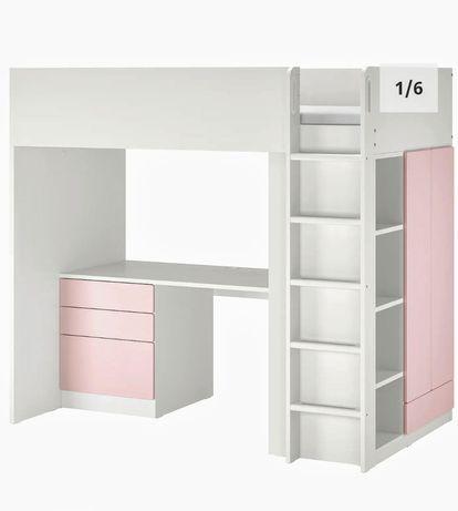 Cama alta com colchão, escrivaninha,gavetas,roupeiro e estante