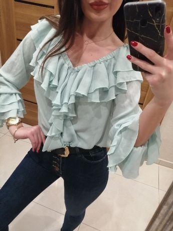 Miętowa bluzka falbany boho pastelowa hiszpanka rozmiar uni S/M
