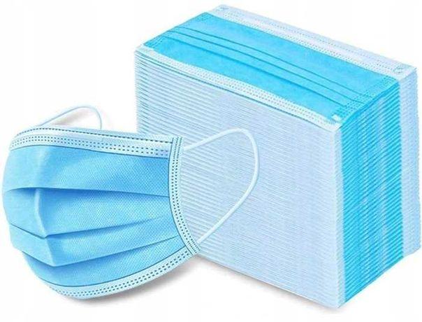 Maska Niebieska Maseczka Higieniczna Ochronna ATEST 3 warstwowa CE