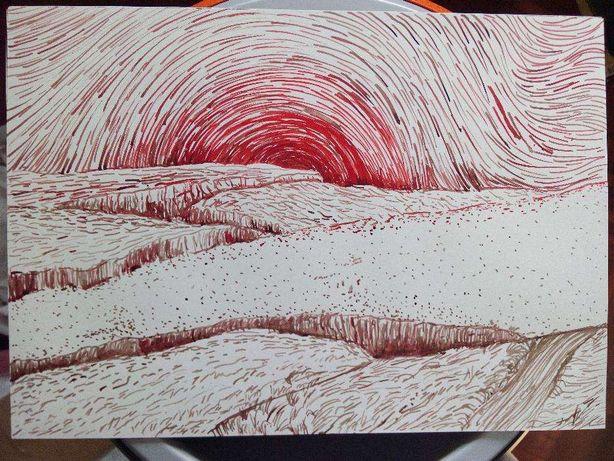 Desenho ilustração original paisagem tinta-da-china cana 29,7 x 42 cm