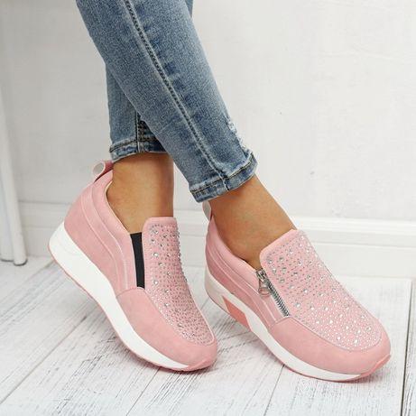 Super buty damskie roz 41 różowe z cyrkoniami NOWE