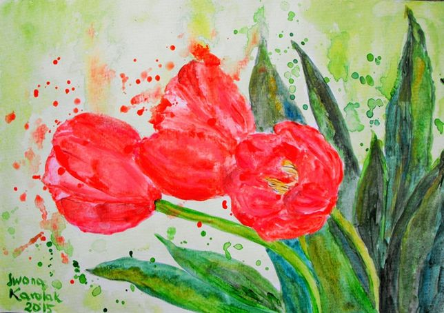 """Obraz akwarelowy """"Tulipany"""""""