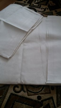 Новая льняная скатерть с 6 салфетками