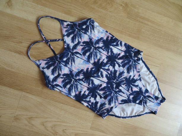 H&M strój kąpielowy jednoczęściowy dziewczęcy, BDB, PALMY, 128/134
