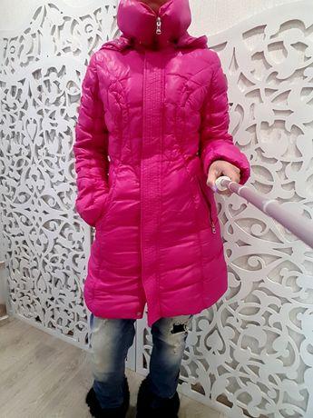 Пуховик snowimage длиный зимний 70% пух яркий розовый пальто