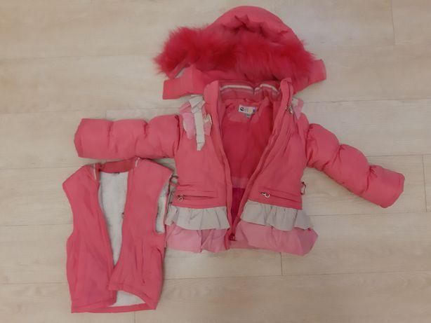 Комбинезон и зимняя куртка, жилет-овчина, рост 80см