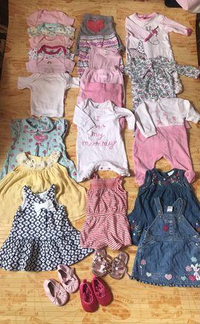 Пакет летней одежды на девочку 0-3 месяца ,бодик,лосины,платье