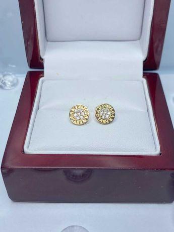 delikatne złote kolczyki Bvlgari p585 1,40g