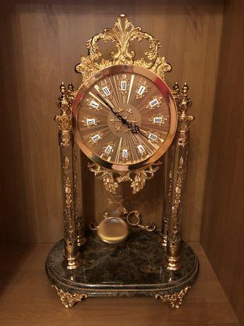 Напольные часы в стиле барокко, сусальное золото, хрусталь, мрамор