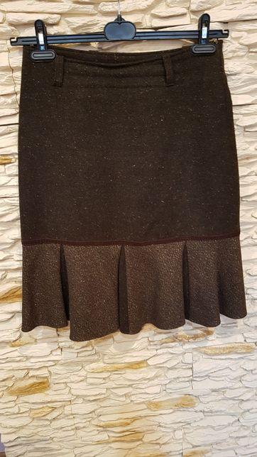Wełniana elegancka brązowa spódnica M 38/40