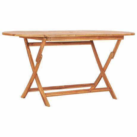 vidaXL Mesa de jardim dobrável 160x80x75 cm madeira de teca maciça 48998