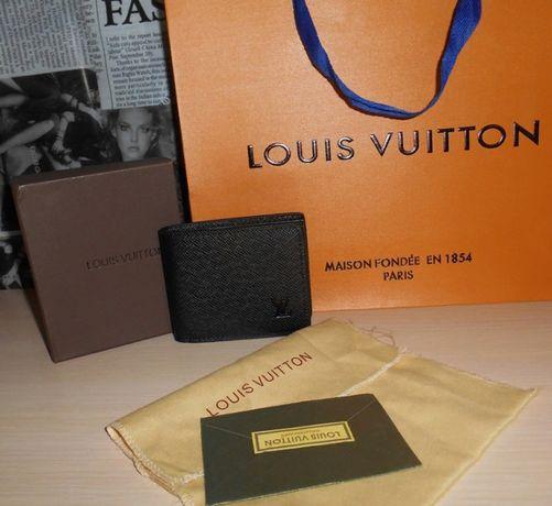 Louis Vuitton portmonetka Czarny portfel męski skóra 100%, na prezent
