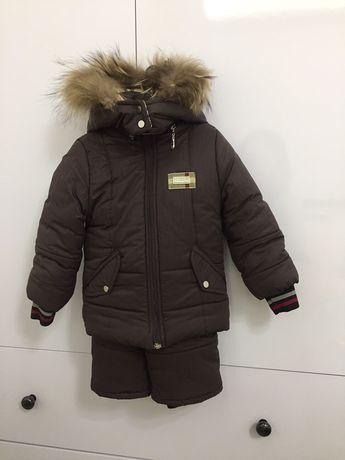 Зимний комбинезон Burberry 1-2 года + шапка