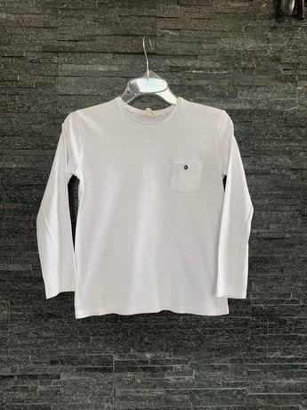 r. 128 cm / ZARA biała bawełniana bluzka na długi rękaw