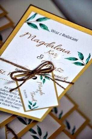 Zaproszenie. Ślub. Liście Eukaliptusa.Złote karty.Złote napisy.