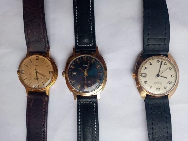 Советские позолоченные часы Заря и Sekonda экспортные Ау20. За одни