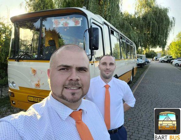 Transport gości weselnych, zabytkowy autobus, autosan H9, przewóz osób