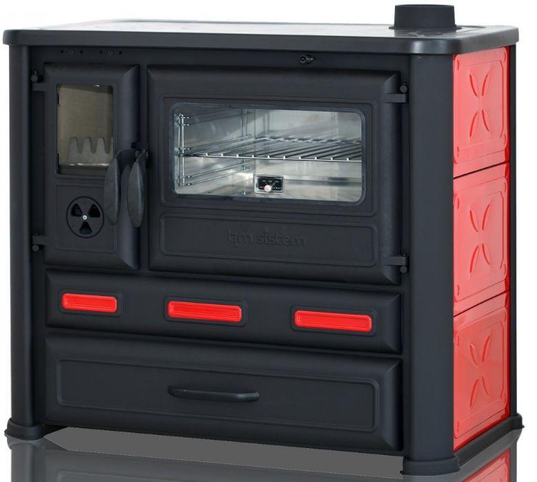 Kuchnia na drewno ALMA MONS żeliwno-stalowa, czerwona Wałbrzych - image 1