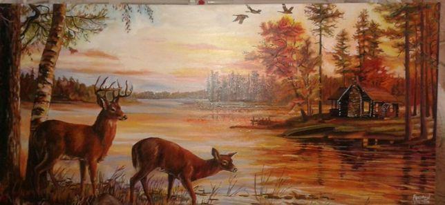 Картина. Живопис. Краєвид. мисливська. озеро. Олені. Захід сонця. Ліс.