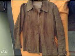 Vintage casaco cintado de mulher de camurça/pele S/M
