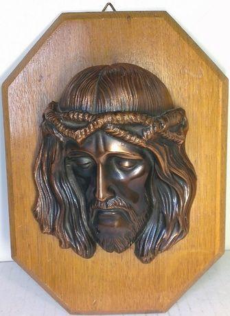 Obraz Jezusa z miedzi w drewnie dewocjonalia