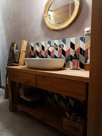 Szafka łazienkowa stare Drewno retro stolik pod umywalkę toczone nogi