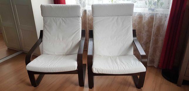 Fotele POÄNG Ikea, biały, rama-ciemny brąz