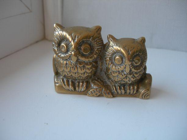 Сова, пара сов на ветке, бронза, Германия