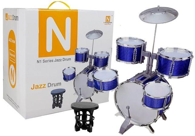 Perkusja duża błyszcząca niebieska krzesełko LT4896