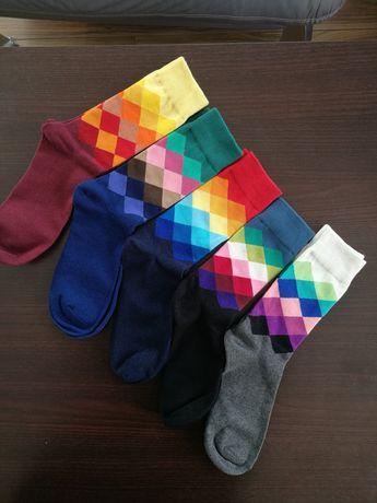 Nowe skarpety męskie, w romby, kolorowe, rozmiar 39 - 44, bawełniane