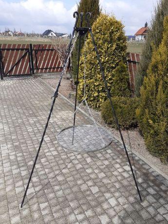 Grill ogrodowy trójnóg + ruszt chromowany o śr.60 cm