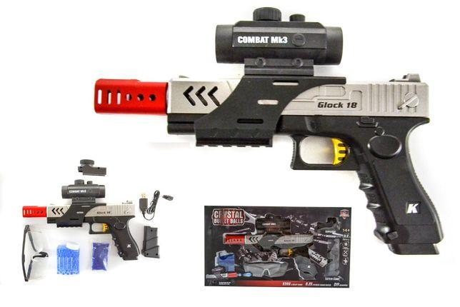 Nowa zabawka - Pistolet automat glock 18 na kulki żelowe-zestaw