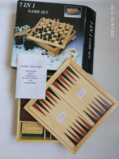 Игровой набор 7в1  Нарды Шахматы Шашки Домино Криббедж Покер Кости