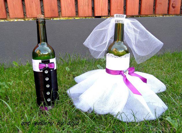 Ubranka na butelki, wino, alkohol Para Młoda
