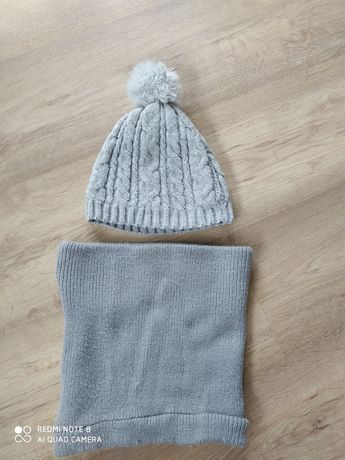czapka +komin zimowa siwa  dla dziewczynki. rozmiar 86-92