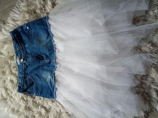 spódniczka jinsowa z białym tiulem nowa 152