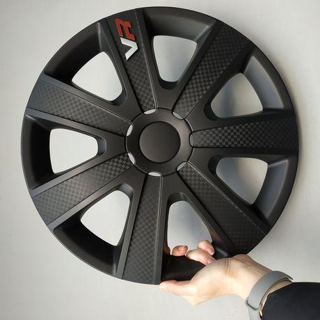 Колпаки на колеса VR Carbon Black R13/14/15/16 черние ковпаки чорні