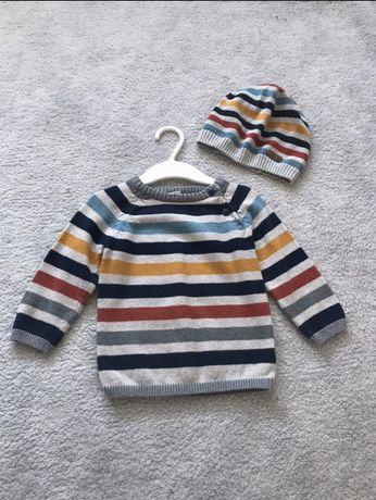 Sweterek i czapeczka H&M rozm.74