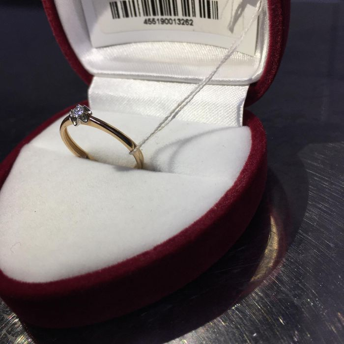 Кольцо золотое с бриллиантом Сумы - изображение 1