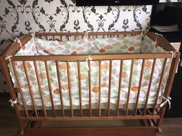 Детская кроватка ( манеж)+ ортопедический матрас+постельное белье
