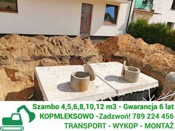 Szamba betonowe zbiorniki na szambo 4,6,8,10,12m z WYKOPEM Gostynin