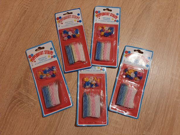 Свечи маленькие разноцветные с подставками / набор 24 шт
