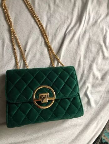Zielona tekstylna damska torebka