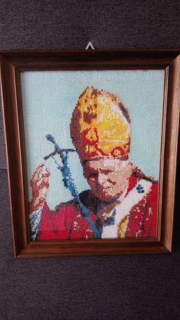 Haft papiez  dłonie hand made reczna robota