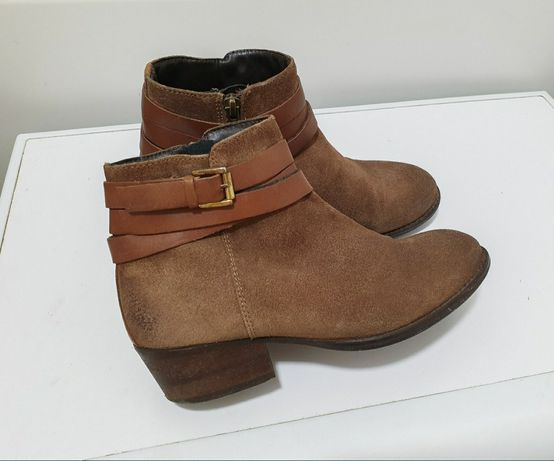 Сапоги ботинки коричневые замша 38 низкие