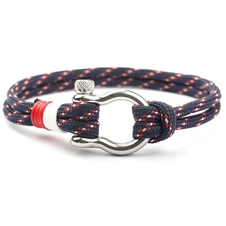 Pulseira Tecido Azul Vermelha e Branco de verão, fecho metal - NOVA