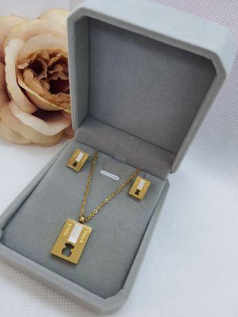 Zestaw biżuterii TOUS  kolczyki wkrętki+celebrytka łańcuszek+pudełko