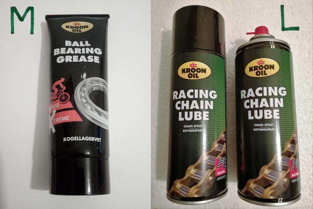 Massa e spray lubrificantes e ferramentas para bicicleta.