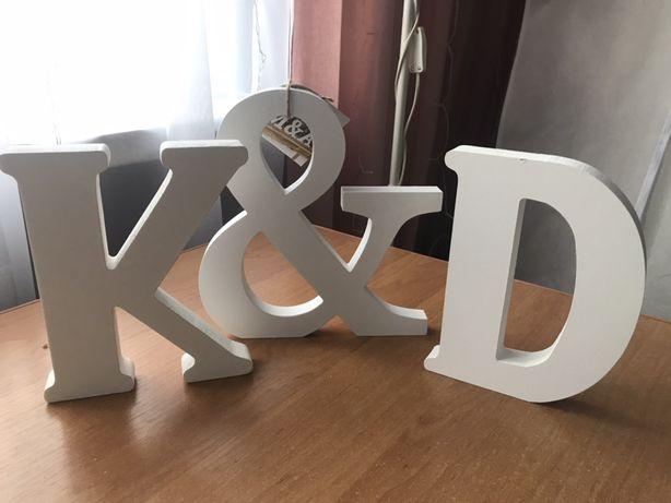 K&D białe,drewniane litery ,inicjały ,imiona , ślub, wesele